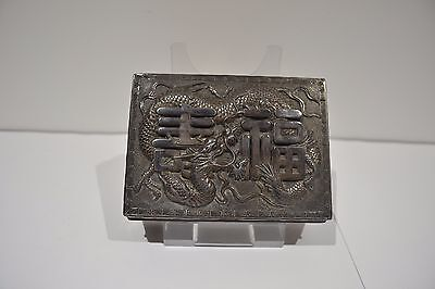 Antique Chinese Metal Cigarette Trinket Box Ornate Dragon Longevity Detailed