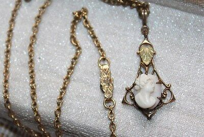 Victorian Vintage GOLD FILLED Angel Skin CORAL CAMEO Lavalier Pendant Necklace