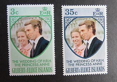 Gilbert & Ellice Islands 1973 Royal Wedding SG221/2 anne  MNH UM unmounted x