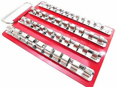 "Socket Rail Tray For 40 Sockets 1/4"" 3/8"" 1/2"" Dr Clips Tool Box Storage CT0735"