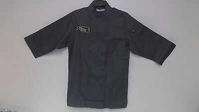 Chef Works JLCL-GRY-XS Basic 3/4 Sleeve Chef Coat Gray /  XS- WRINKLE