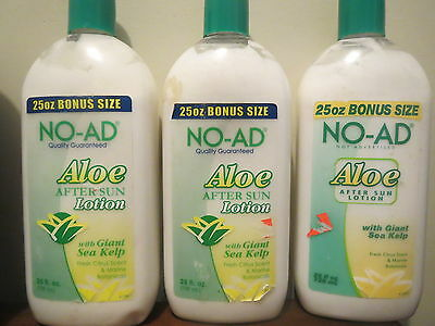 Lot of 3 NO-AD Aloe After Sun Lotion fresh citrus scent 25 oz / 739ml each