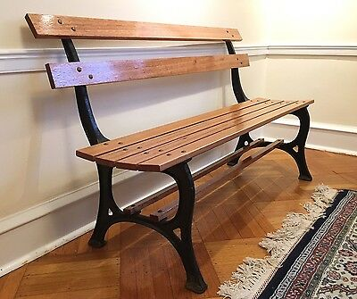 Wm. Adams Foundry Phila. Restored Antique Cast Iron Park Bench Mahogany & Bronze