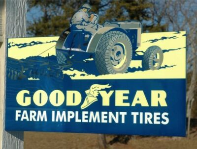 Old Style Goodyear Tire & Rubber Farm Tractor Diecut Steel Flange Sign Usa Made!
