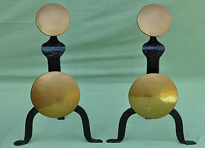 Pair Vintage Hammered Wrought Iron and Brass Fire Grate Dogs Andirons