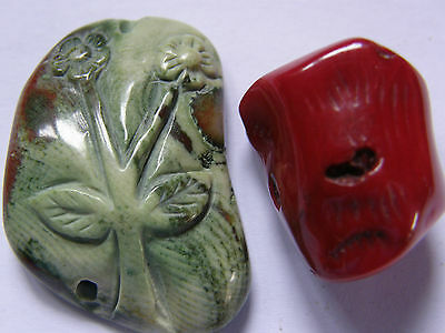 2 Carved Coral Beads; Green/Brown Flower & Red Branch Piece. Jewellery Making