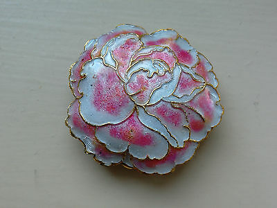 Peony Cloisonne Focal Bead Floral Design, White/Pink, 40 mm approx