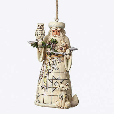 Jim Shore Heartwood Creek White Woodland Santa Hanging Ornament 4050011 Enesco
