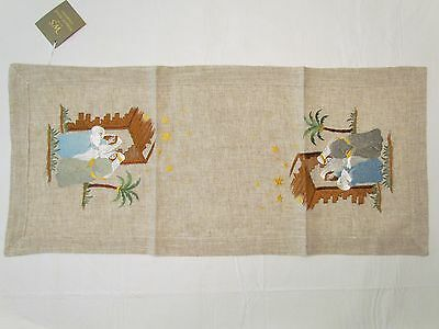 "Nativity Manger Linen Embroidered Table Runner 36"" Holiday First Christmas NWT"