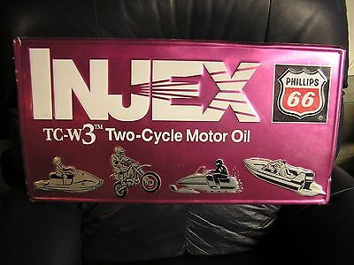 Phillips 66 Injex Two Cycle Motor Oil Sign Embossed 28 X 15