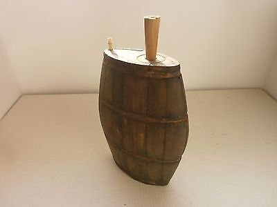 Antique Old Primitive Wooden Hand Made Flask Flat Bottle With Metal Hoops,rare