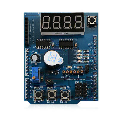 Multi Functional Expansion Shield with DS18B20/LM35 Temp Sensor Interface TE552