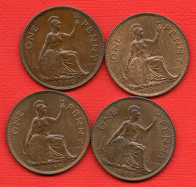 1946 1947 1948 & 1949 King George Vi Penny Coins. 4 X Pennies In Very High Grade