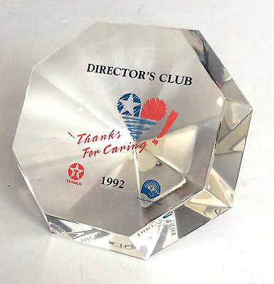 Texaco Gas Oil Petroleum Lucite or Acrylic Paperweight 'Director's Club' from 19