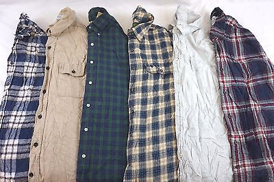 Lot of 6 Random Men's Flannel Plaid Button-Front Shirts S M L XL 2XL 3XL