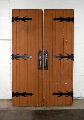 Antique 1910s Gothic Oak Double Entry Doors, Architectural Salvage, Vintage