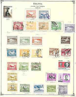 Bolivia - 30+ Postal Tax Stamps on pgs