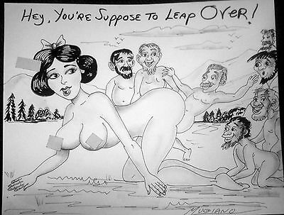 Luciano Original Pencil & Charcoal Snow White leap Frog with the Dwarfs