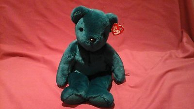 TY Beanie buddie Teal Teddy Old Face