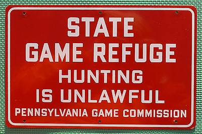 """Pa Pennsylvania Game Commission NEW Metal 12""""x 8"""" Antique State Game Refuge Sign"""