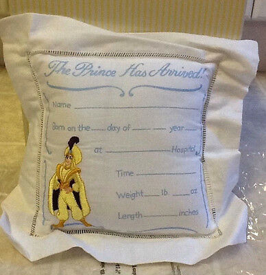 "Disney ALADDIN ""THE PRINCE HAS ARRIVED"" Keepsake Baby Boy Announcement Pillow"
