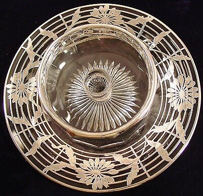 Sterling Silver Overlay Floral Chip & Dip Tray Heisey