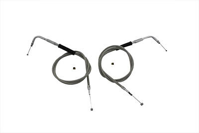 38  Stainless Steel Throttle and Idle Cable Set,for Harley Davidson motorcycles,