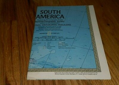 1972 South America Map Cartographic Division National Geographic Society Rare