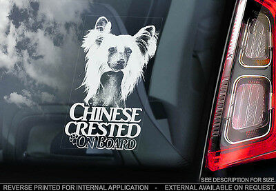Chinese Crested Dog - Car Window Sticker - Dog Sign -V03