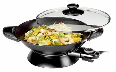 Kambrook Essentials Electric 2200w Steel Wok Glass Lid Non Stick Cooking Pan New