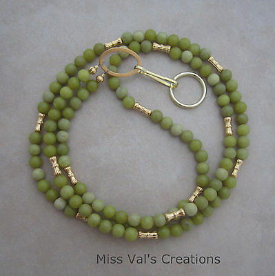 olive green jade gold beaded lanyard badge ID key holder handcrafted