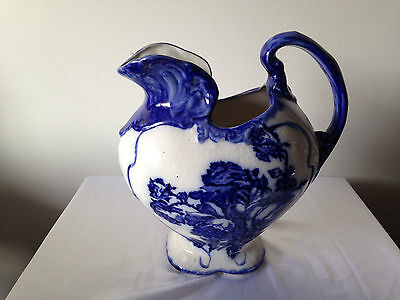 FLOW BLUE IRONSTONE STAFFORSHIRE JUG-Beautiful-Large