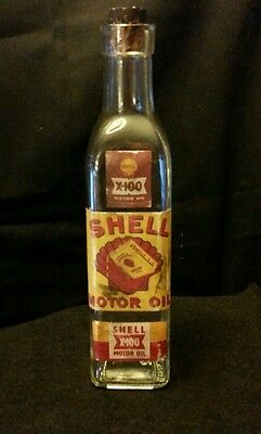 Vintage Style Shell X-100 Motor Oil Glass  Bottle...Artist Handcrafted