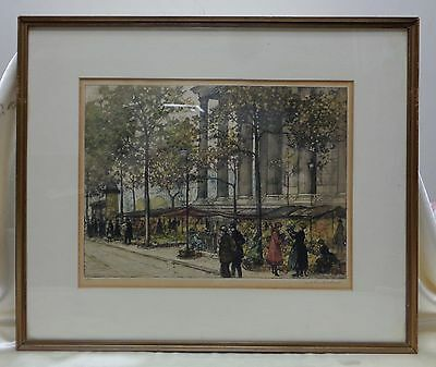 "Signed & Matted Vintage ""People by Monument"" Print #5/500 in Antique Wood Frame"