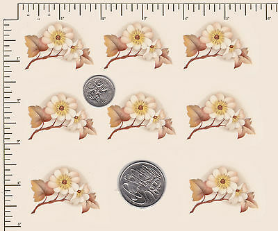 """8 x Waterslide ceramic decals  White flower Branch  Approx. 1 1/4"""" x 1 5/8  PD59"""