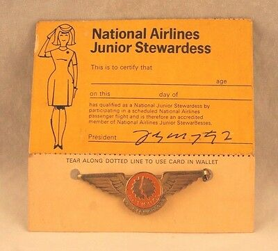 Vintage 1960's National Airlines Junior Stewardess Pin & Card