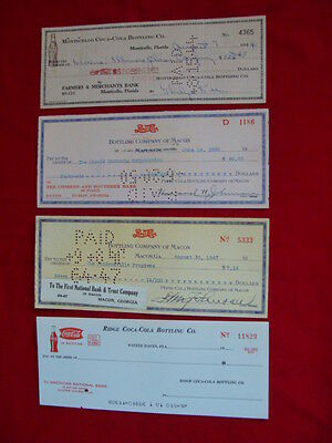 Four Vintage Soda Company Checks 1940s-50s-60s in excellent condition Two Coca C
