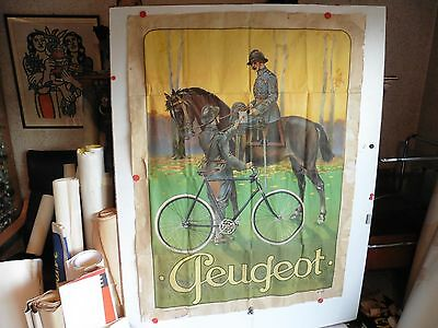 Grande Affiche Ancienne cycle Peugeot soldat velo cheval WW1 1915