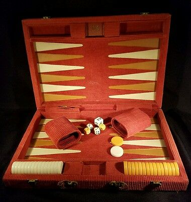 Aries Vintage Backgammon Board Game With Corduroy Carrying Case