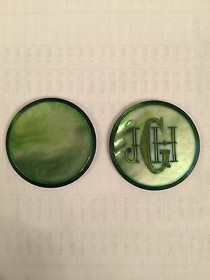 "UNIC MOTHER OF PEARL CASINO/POKER CHIP MONOGRAMED "" J H G "" FIRST QUALITY 34 mll"