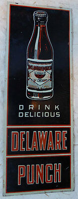 Early Delaware Punch Tin Palm Press sign Near Mint
