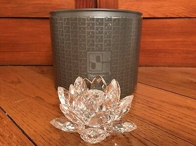 Swarovski Silver Crystal Water Lily Taper Candle Holder 7600 NR 123 In Box