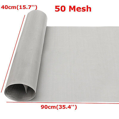 304 Stainless Steel 50 Mesh Silver Filtration Woven Wire Cloth Screen 16''x35''