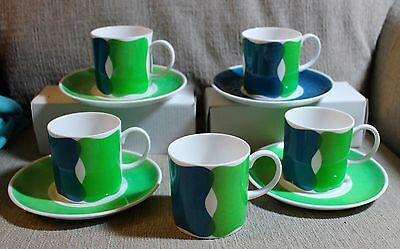 Susie Cooper WEDGEWOOD GROUP England Fine Bone China Demitasse Tea Cups Saucers
