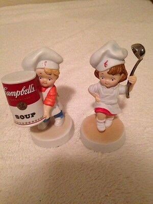 """2 Campbell Soup Boy & Girl """"Kids"""" as Chefs Figurines from 2003"""