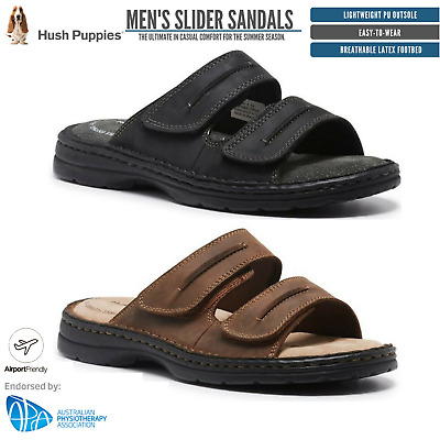 HUSH PUPPIES SLIDER Mens Leather Adjustable Strap Comfort Sandals Slippers Shoes