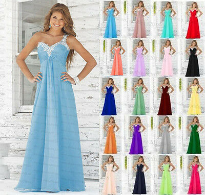 Long Chiffon Lace Evening Formal Party Ball Gown Prom Bridesmaid Dress Size 6-18