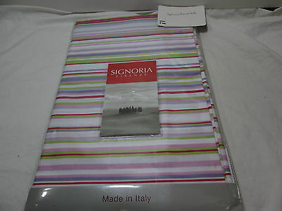 New Signoria Firenze Pink and White Stripe  King Bedskirt Made In ITALY NIP