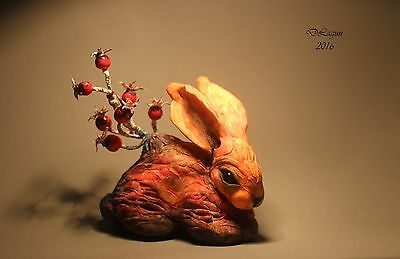 OOAK, author, fairy, tale, polymer sculpture rabbit fantasy art handmade