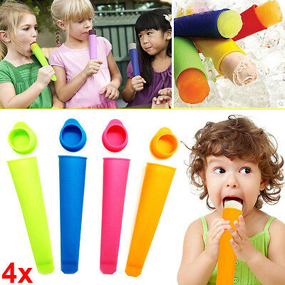 4X DIY Popsicle Molds Ice Pop Silicone Maker+Attached Lids Recipe 150*135*35mm